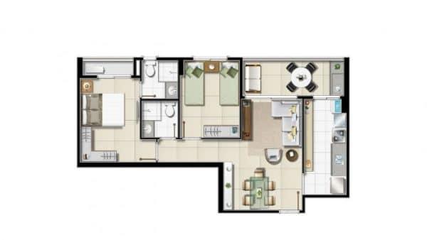 Opção 1 de dois quartos