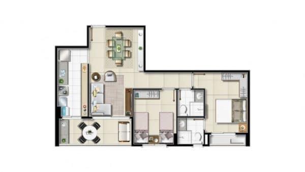 Opção 2 de dois quartos