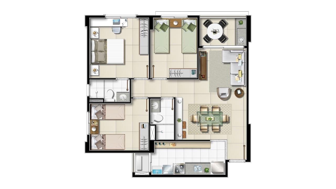 Opção de três quartos