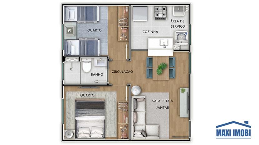 Apartamento sem varanda
